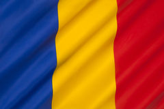 Flag of Romania - Romanian Flag. The national flag of Romania. The flag is coincidentally very similar to the civil flag of Andorra and the state flag of Chad Stock Photos