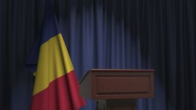 Flag of Romania and speaker podium tribune. Political event or statement related conceptual 3D animation