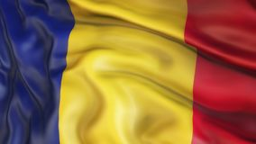 Flag, Romania, Waiving Flag of Romania stock photo