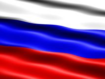 Flag of Russia. Computer generated illustration of the flag of Russia with silky appearance and waves Stock Photo