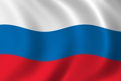 Flag of Russia. Waving in the wind Royalty Free Stock Image