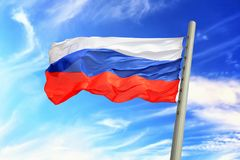 Russian flag. Flag of Russia against the background of the sky Royalty Free Stock Photography