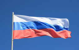 Flag of Russia. Flag of Russia against the sky Royalty Free Stock Images