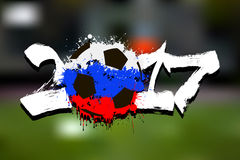 Flag of Russia as an abstract soccer ball Stock Photo