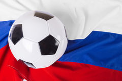 Flag of Russia with ball. Flag of Russia with football ball Stock Image