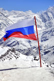 Flag of Russia on Elbrus Royalty Free Stock Photo