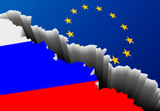 Flag Russia Europe Deep Crack. Detailed illustration of the russian national Flag and european banner with a deep crack, symbol for crisis and problems Stock Photos