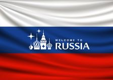 Flag of Russia, fabric design background Stock Image