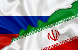 Flag of Russia and flag of Iran Royalty Free Stock Photos