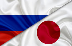 Flag of Russia and flag of Japan Royalty Free Stock Photos
