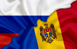 Flag of Russia and flag of Moldova Royalty Free Stock Photos