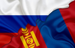 Flag of Russia and flag of Mongolia Royalty Free Stock Images