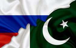 Flag of Russia and flag of Pakistan Stock Image