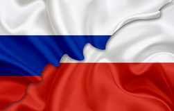 Flag of Russia and flag of Poland Stock Photos