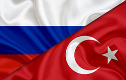 Flag of Russia and flag of Turkey Stock Photography