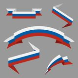 Flag of Russia. Flat ribbons set. Design elements. Vector Illustration. Flag of Russia. Flat ribbons set. Design elements. Vector Illustration Stock Photos