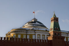 Flag of Russia flutters over walls Kremlin. Working president residence Stock Photos