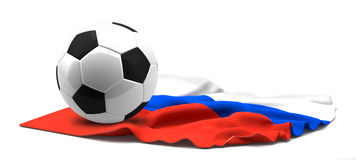Flag of Russia and football soccer ball. 3d rendering isolated Royalty Free Stock Photography