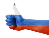 Flag of Russia on hand Stock Photos