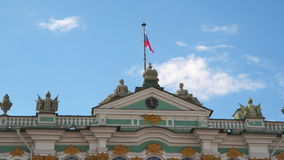 Flag of Russia on the Hermitage. In St. Petersburg stock footage