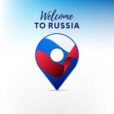 Flag of Russia in shape of map pointer. Welcome to Russia. Vector illustration. Stock Photography