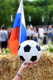 Soccer ball and flag of russia royalty free stock images