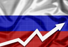 Flag of Russia with an up arrow. The concept of success and progress in the country Stock Images