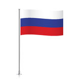 Flag of Russia waving on a metallic pole. Stock Images