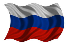 Flag of Russia wavy on white, fabric texture Stock Image