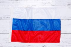 Flag of Russian federation. On white wooden background royalty free stock photos