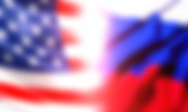The flag of the Russian Federation and the flag of the United States of America. Stock Photos
