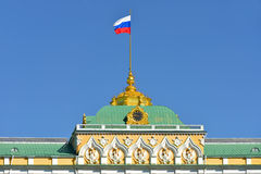 Flag of Russian Federation on Grand Kremlin Palace Stock Photography
