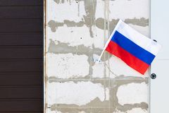 Flag of the Russian Federation at home.  royalty free stock photos