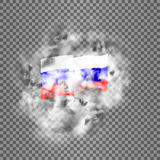 Flag of the Russian Federation in the smoke. Stock Photo