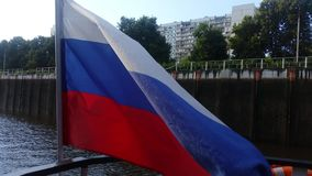 Flag of the Russian Federation. Tricolor flag of Russia fluttering in the wind stock video