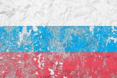 Flag Of Russian Federation. Vintage style. Old wall texture. Faded background. Royalty Free Stock Images