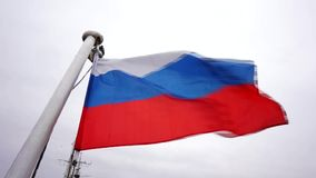 The flag of the Russian federation waving in the wind, Russian flag background. Russia national flag, Russian flag on flagpole waving background, the flag of the stock footage