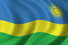Flag of Rwanda. Waving in the wind Royalty Free Stock Photos
