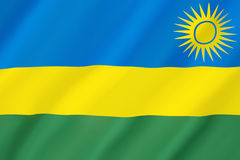Flag of Rwanda. Adopted on 25th October 2001. The flag represents national unity, respect for work, heroism, and confidence in the future. It was adopted to Stock Images