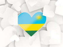 Flag of rwanda, heart shaped stickers. Background. 3D illustration Royalty Free Stock Images