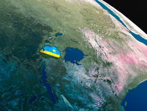 Flag of Rwanda from space Stock Photography
