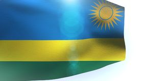 Flag of Rwanda with waving in the wind against white background wave. Video stock footage