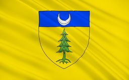 Flag of Saint-Claude, France. Flag of Saint-Claude is a commune in the Jura department in the Bourgogne-Franche-Comte region in eastern France stock photo