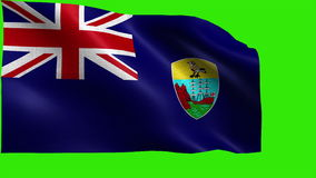 Flag of Saint Helena, Ascension and Tristan da Cunha (UK) - seamless LOOP. Beautiful 3d animation of the Saint Helena flag on green screen in 4k format - looped stock footage
