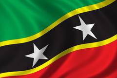 Flag of Saint Kitts and Nevis. Waving in the wind Royalty Free Stock Photography