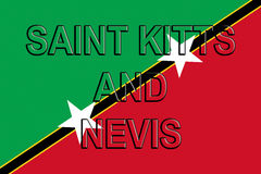 Flag of Saint Kitts and Nevis Word Stock Photo