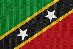 Flag of Saint Kitts und Nevis on old linen Stock Photo