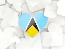 Flag of saint lucia, heart shaped stickers Royalty Free Stock Photo
