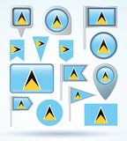 Flag of Saint Lucia, vector illustration. Stock Photos