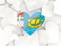 Flag of saint pierre and miquelon, heart shaped stickers Stock Photography